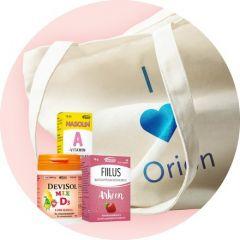 Orionin keräilypalkinto Orionin tuotteita ja puuvillakassi